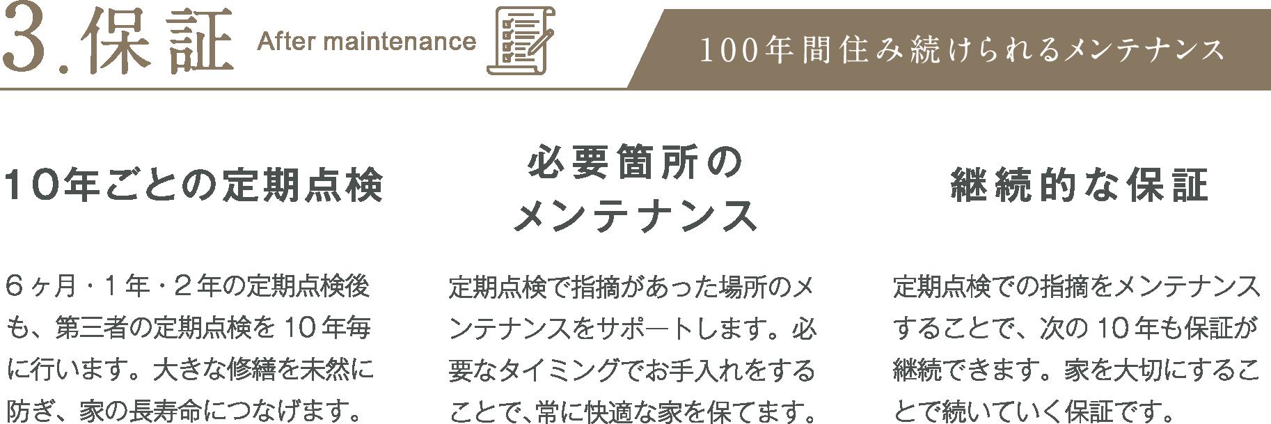 3.保証:100年住み継ぐメンテナンス